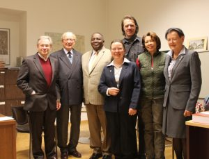 Besuch beim Ehrenpräsidenten mit Nam. Botschafter am 25. Jan. 2018, vlnr: Sauer, Jankowitsch, Maruta, Esterlus, Burghofer, Williams, Wollmann